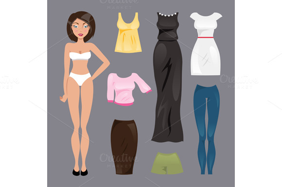 Template paper doll. Vector - Illustrations