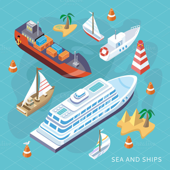 Isometric Set Ships. Sea Transport - Objects