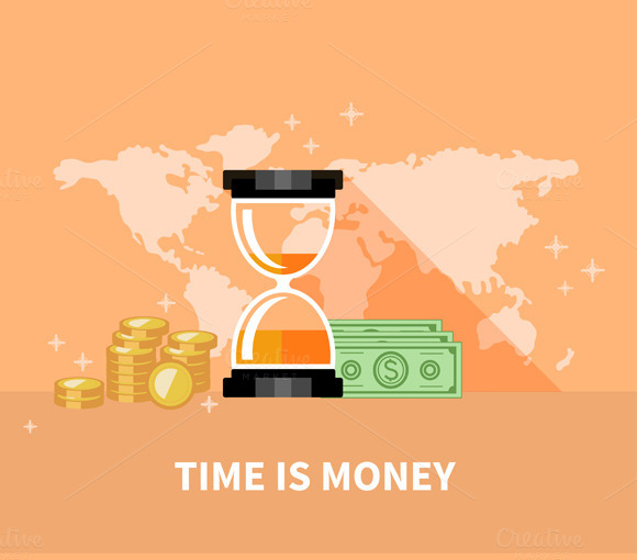 Time is Money. Hourglass Coins - Illustrations