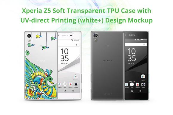 Xperia Z5 TPU Case UV Print Mock-up