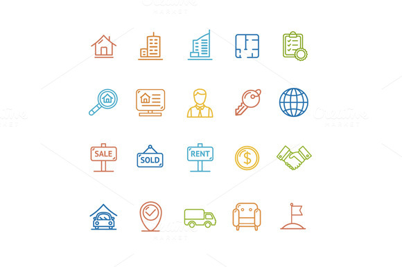 Real Estate Outline Icon Set. Vector - Icons