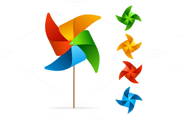 Colorful Windmill Set. Vector - Illustrations