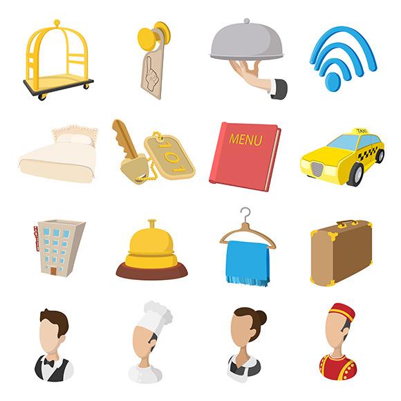 Hotel Cartoon Style Icons Set