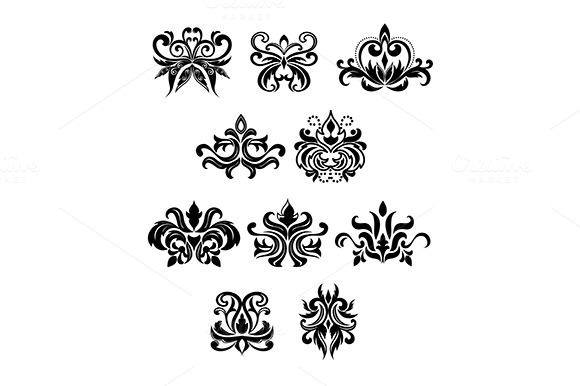 Damask Black Flowers Set With Buds