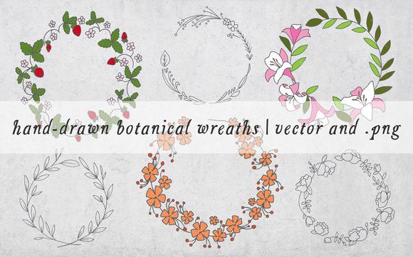 Hand Drawn Botanical Wreaths