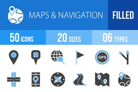50 Maps Blue Black Icons