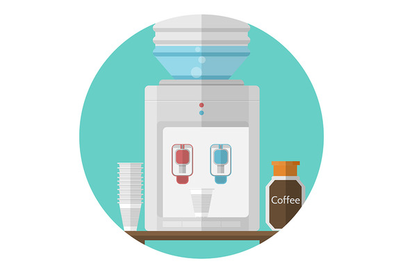 Office Water Cooler Flat Vector Icon