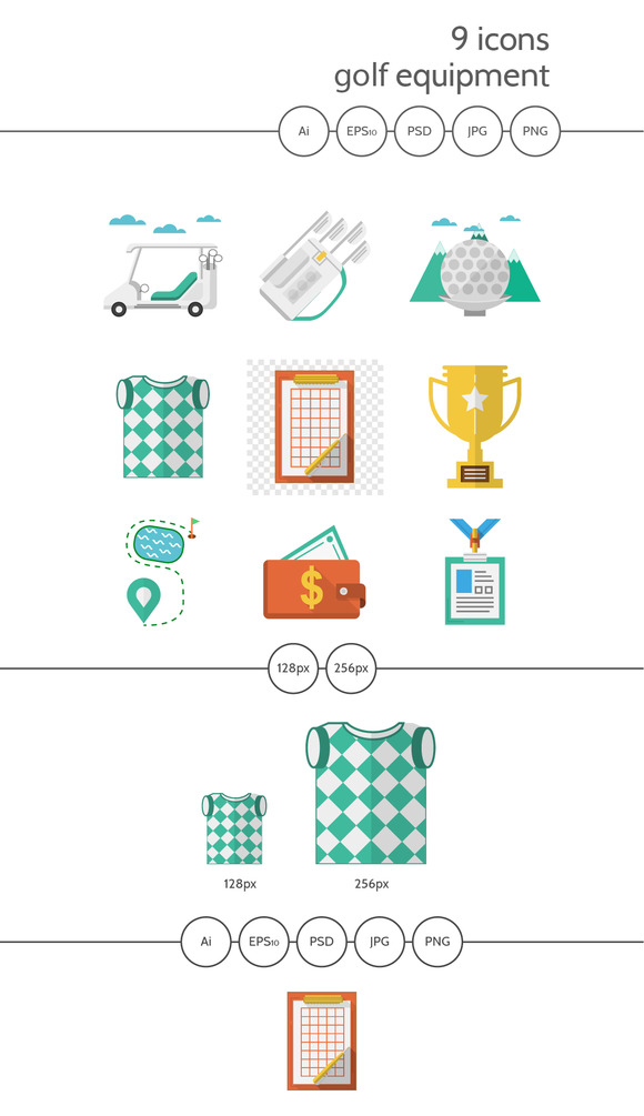 Golf Flat Vector Icons Part 1