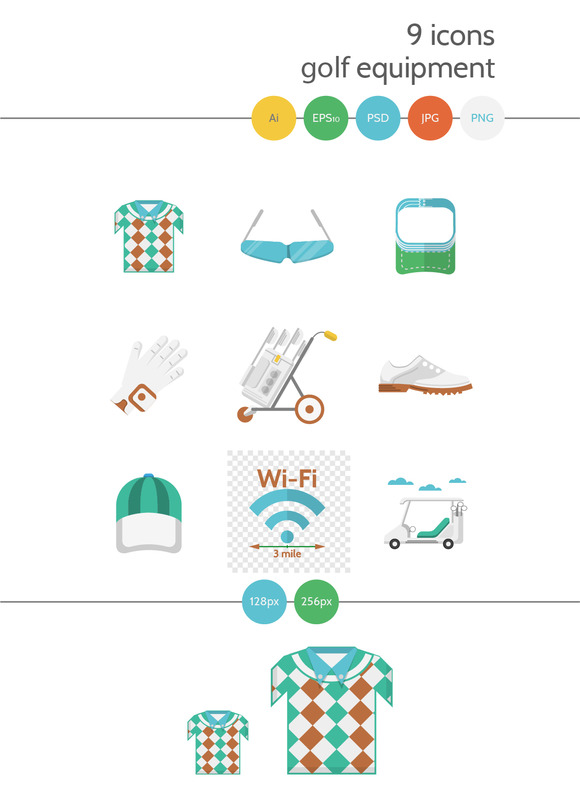 Golf flat vector icons. Part 2 - Icons