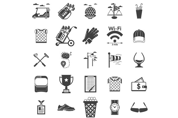 Sport black vector icons. Golf - Icons