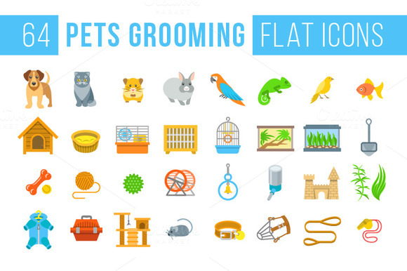 Animal Pets Grooming Flat Icons