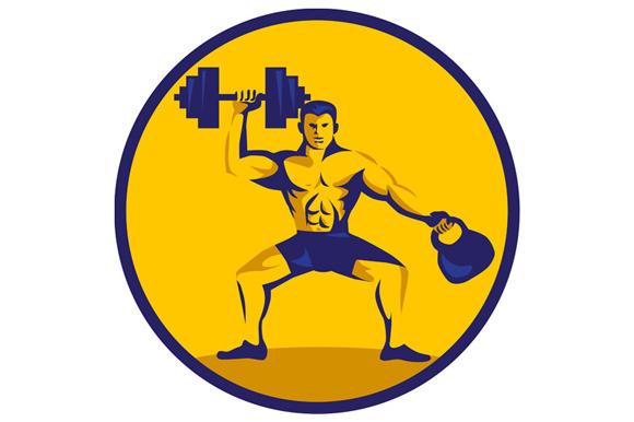 Athlete Lifting Kettlebell Dumbbell