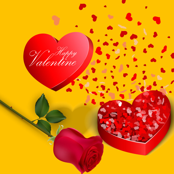 Valentines Day Open Gift Box