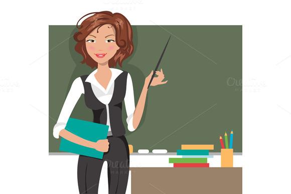 Teacher at blackboard. Vector - Illustrations