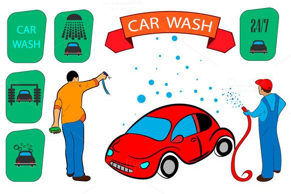 car wash. sign, icon set - Illustrations
