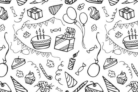 Doodle Pattern Happy Birthday