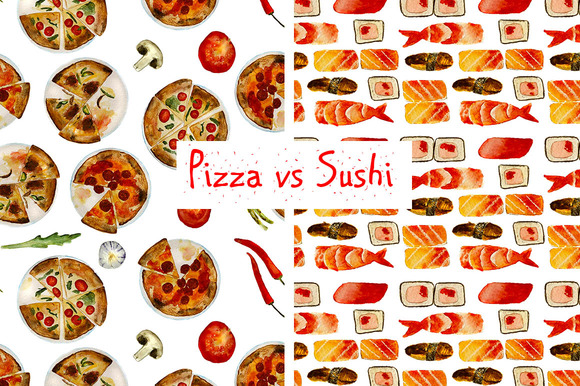 2 Food Patterns Pizza And Sushi