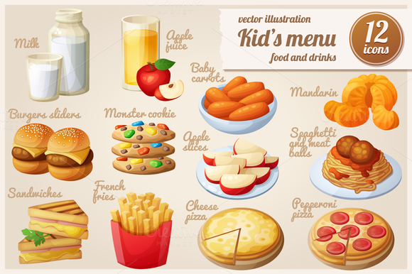 Kids Menu Cartoon Vector Food Icons