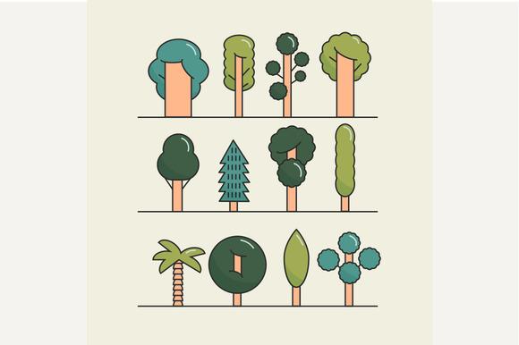 Modern flat trees set. Vector trees - Objects