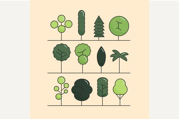 Modern Flat Trees Set Vector Trees