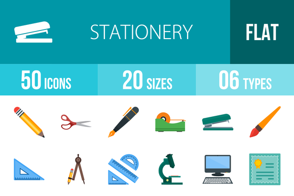 50 Stationery Flat Multicolor Icons