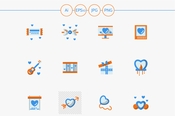 Love Greeting Flat Vector Icons