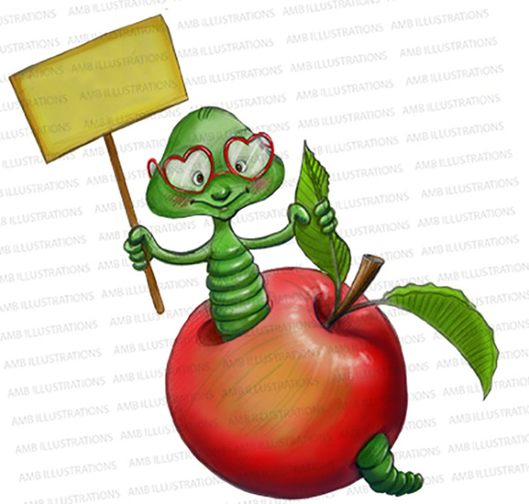 Apple Clipart Worm In Apple AMB-917