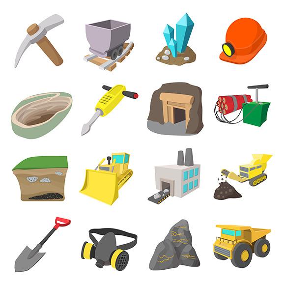 Mining Icons Cartoon Set