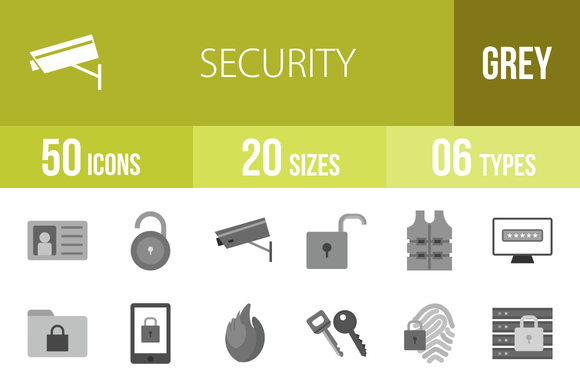 50 Security Greyscale Icons
