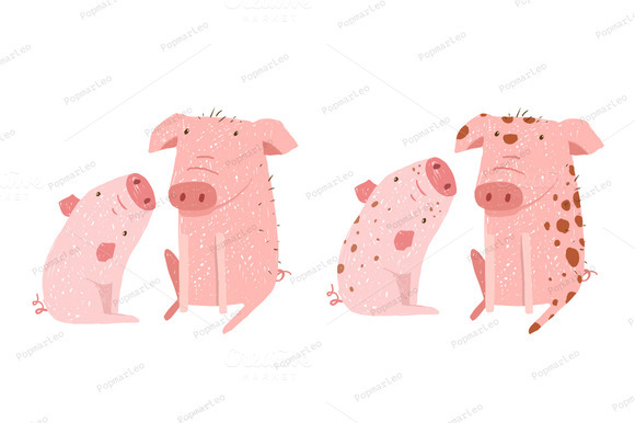 Two Pigs Parent And Child Cartoon