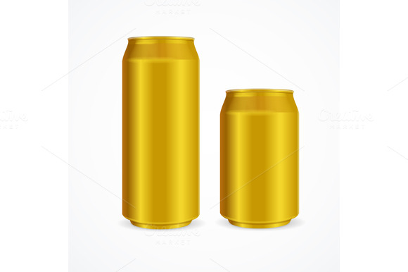 Yellow Aluminium Cans. Vector - Objects