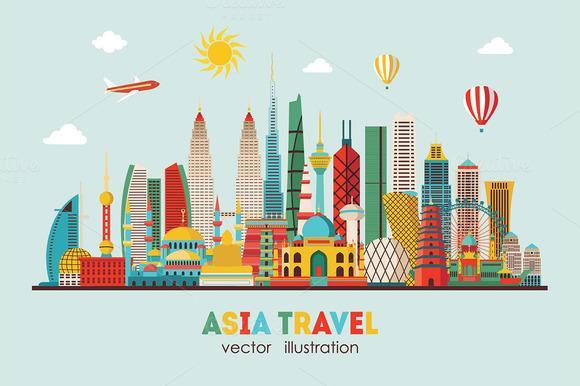 Asia skyline detailed silhouette. Ve - Illustrations