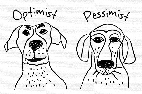 Optimism And Pessimism Vector Icons
