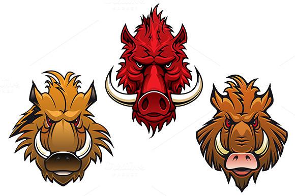 Cartoon Fierce Wild Boars And Pigs