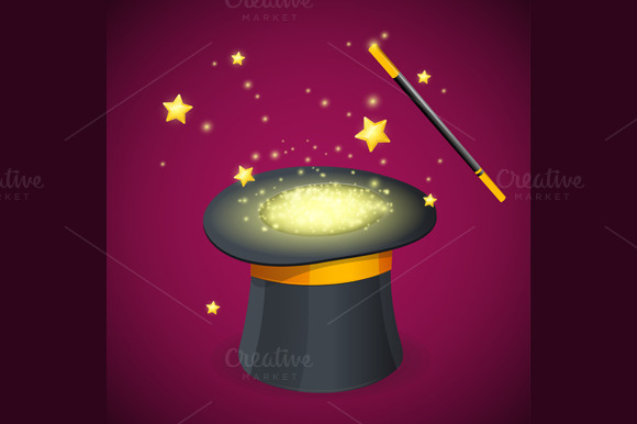 Magic Hat and Wand. Vector - Illustrations