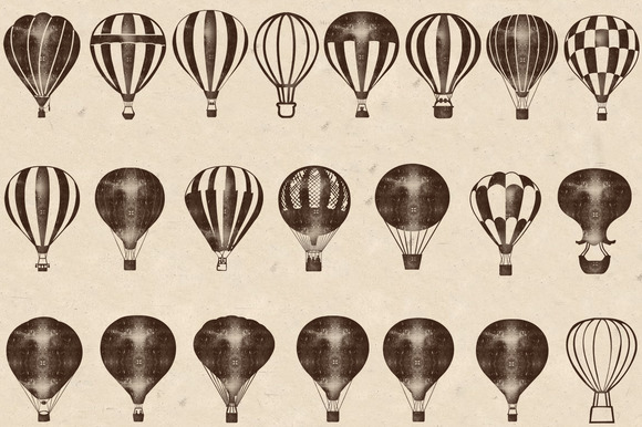 Wood Stamped Air Balloons