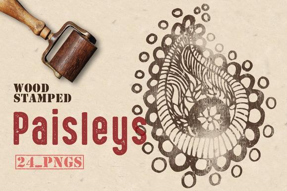 Wood Stamped Paisleys