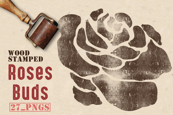 Wood Stamped Rose Buds