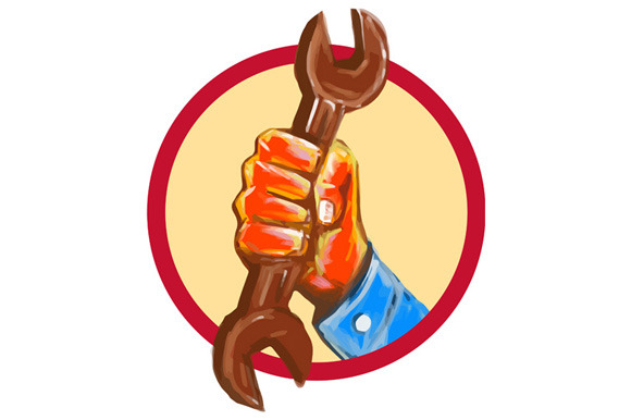 Mechanic Hand Holding Spanner Circle