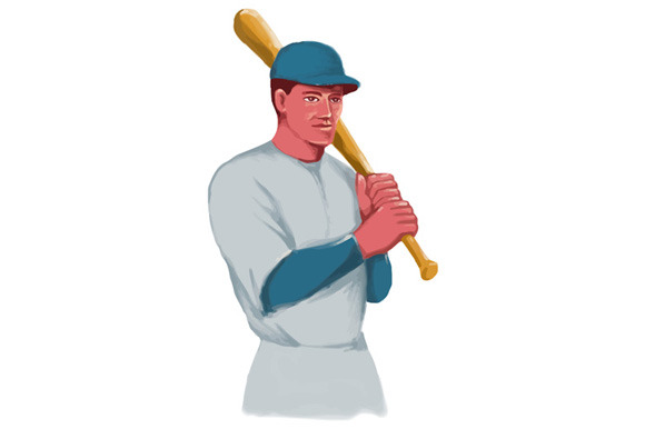 Vintage Baseball Player Bat Watercol