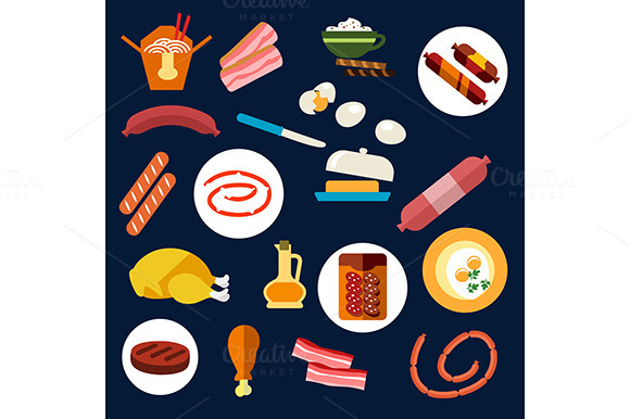 Set Of Flat Food And Meat Icons
