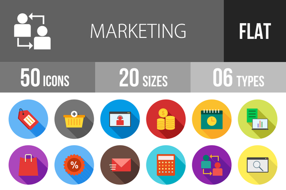 50 Marketing Flat Shadowed Icons