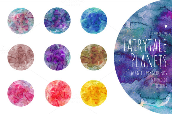 Fairytale Planets. Watercolor - Textures