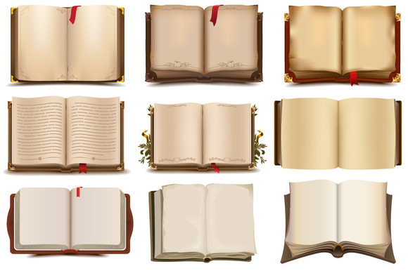 Set Of 9 Open Books