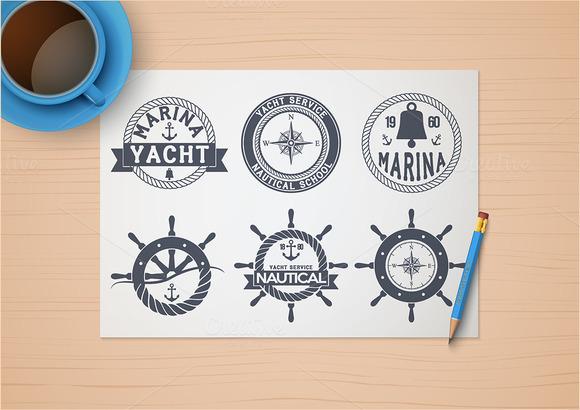 Set Of Nautical Yacht Badges
