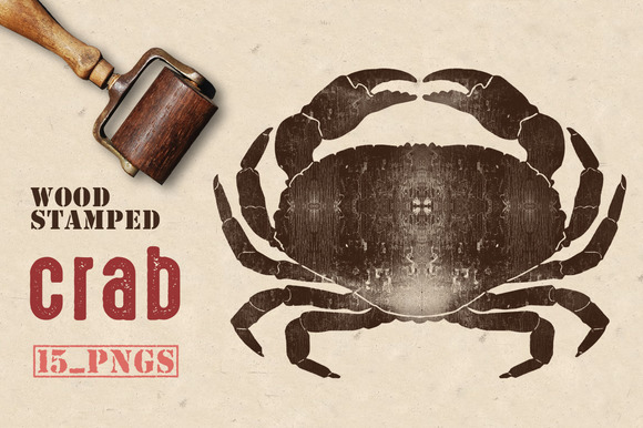 Wood Stamped Crab