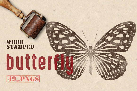 Wood Stamped Butterfly