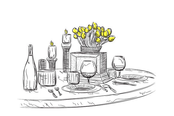 Romantic Dinner. Holiday Wares - Illustrations