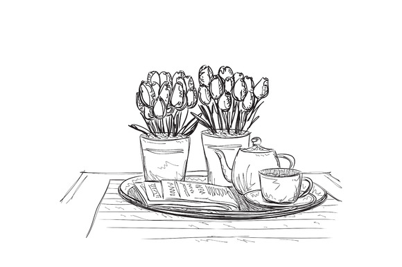 Romantic Table. Dinner Wares. - Illustrations