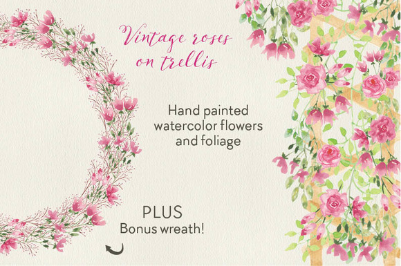 Watercolor Clip Art Vinatge Roses